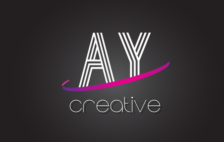 AY A Y Letter Logo with Lines Design And Purple Swoosh Vector Letters Illustration. Illustration