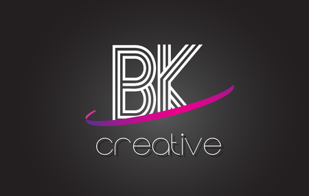 BK B K Letter Logo with Lines Design And Purple Swoosh Vector Letters Illustration. Illustration
