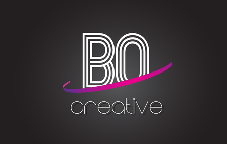 BO B O Letter Logo with Lines Design And Purple Swoosh Vector Letters Illustration.