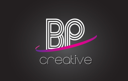 BP B P Letter Logo with Lines Design And Purple Swoosh Vector Letters Illustration.