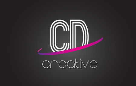 CD C D Letter Logo with Lines Design And Purple Swoosh Vector Letters Illustration.