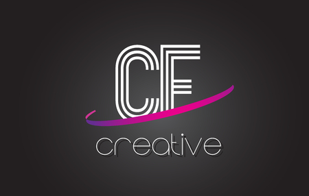 CF C F Letter Logo with Lines Design And Purple Swoosh Vector Letters Illustration.