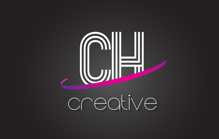 letter c: CH C H Letter Logo with Lines Design And Purple Swoosh Vector Letters Illustration.