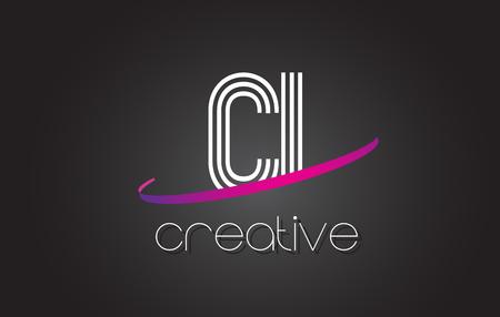 ci: CI C I Letter Logo with Lines Design And Purple Swoosh Vector Letters Illustration. Illustration