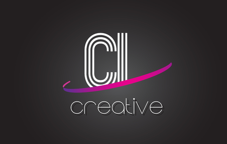 letter c: CL C L Letter Logo with Lines Design And Purple Swoosh Vector Letters Illustration.