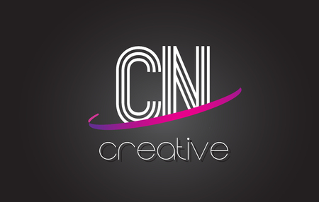 letter c: CN C N Letter Logo with Lines Design And Purple Swoosh Vector Letters Illustration.