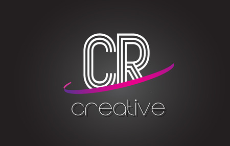 cr: CR C R Letter Logo with Lines Design And Purple Swoosh Vector Letters Illustration. Illustration