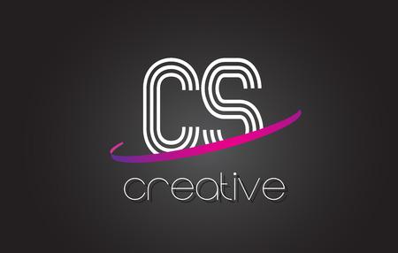 CS C S Letter Logo with Lines Design And Purple Swoosh Vector Letters Illustration. Ilustração