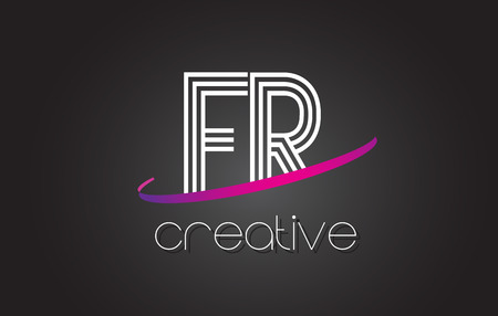 FR F R Letter Logo with Lines Design And Purple Swoosh Vector Letters Illustration.