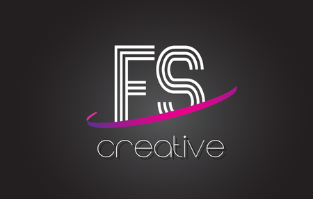 FS F S Letter Logo with Lines Design And Purple Swoosh Vector Letters Illustration. Banco de Imagens - 79508210