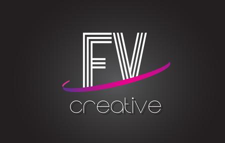 fv: FV F V Letter Logo with Lines Design And Purple Swoosh Vector Letters Illustration. Illustration