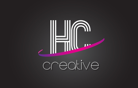 HC H C Letter Logo with Lines Design And Purple Swoosh Vector Letters Illustration. Illustration