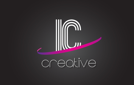 ic: IC I C Letter Logo with Lines Design And Purple Swoosh Vector Letters Illustration.