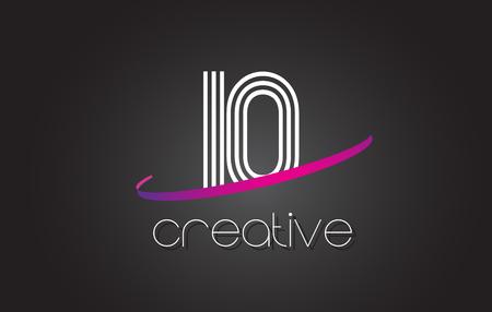 IO I O Letter Logo with Lines Design And Purple Swoosh Vector Letters Illustration. Ilustração