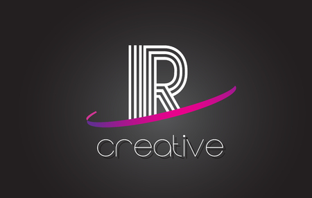 IR I R Letter Logo with Lines Design And Purple Swoosh Vector Letters Illustration.