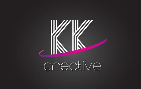 KK K K Letter Logo with Lines Design And Purple Swoosh Vector Letters Illustration.