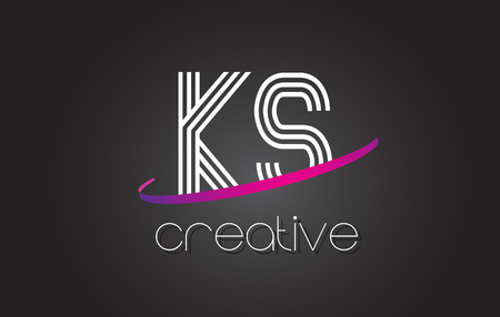 KS K S Letter Logo with Lines Design And Purple Swoosh Vector Letters Illustration.