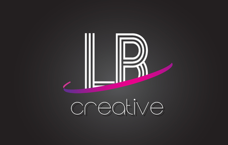 LB L B Letter Logo with Lines Design And Purple Swoosh Vector Letters Illustration.