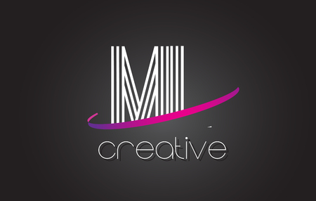 ml: ML M L Letter Logo with Lines Design And Purple Swoosh Vector Letters Illustration.