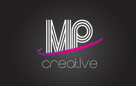 MP M P Letter Logo with Lines Design And Purple Swoosh Vector Letters Illustration.