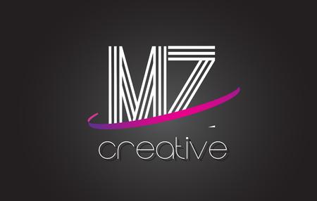 MZ M Z Letter Logo with Lines Design And Purple Swoosh Vector Letters Illustration. Logó