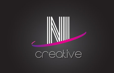 NI N I Letter Logo with Lines Design And Purple Swoosh Vector Letters Illustration. Illustration