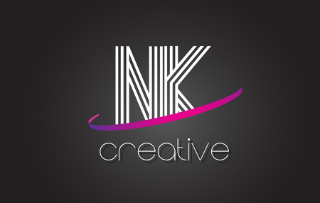 NK N K Letter Logo with Lines Design And Purple Swoosh Vector Letters Illustration.