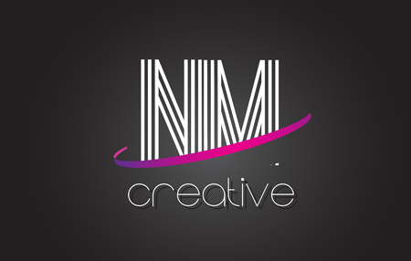 NM N M Letter Logo with Lines Design And Purple Swoosh Vector Letters Illustration.