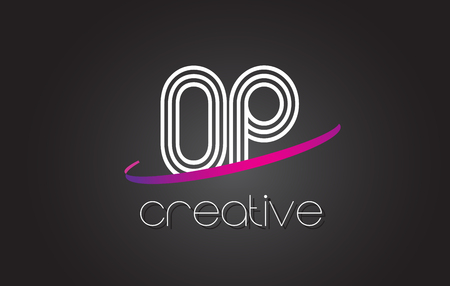 OP O P Letter Logo with Lines Design And Purple Swoosh Vector Letters Illustration.
