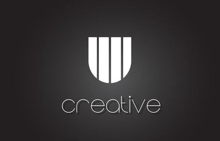 U Creative Letter Logo Design met witte en zwarte lijnen. Stock Illustratie
