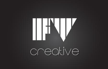 fv: FV F V Creative Letter Logo Design With White and Black Lines.