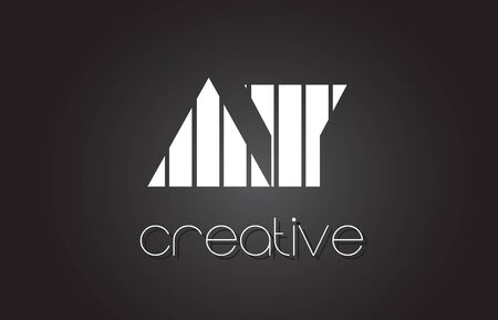 AY A Y Creative Letter Logo Design With White and Black Lines. Illustration