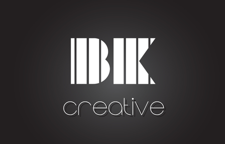 BK B K Creative Letter Logo Design With White and Black Lines.