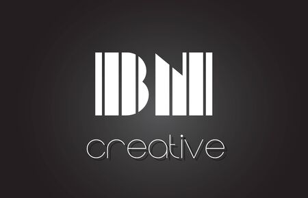 bn: BN B N Creative Letter Logo Design With White and Black Lines.