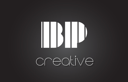 BP B P Creative Letter Logo Design With White and Black Lines.
