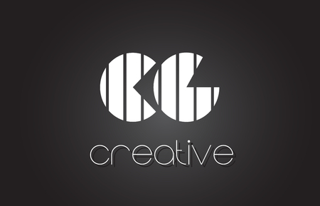 letter c: CG C G Creative Letter Logo Design With White and Black Lines. Illustration