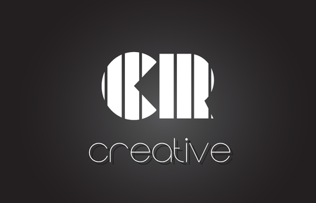 cr: CR C R Creative Letter Logo Design With White and Black Lines.