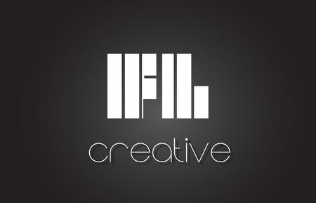 fl: FL F L Creative Letter Logo Design With White and Black Lines.