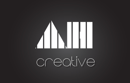 AH A H Creative Letter Logo Design With White and Black Lines. Illustration