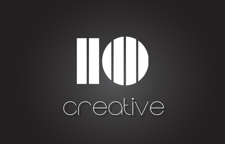 IO I O Creative Letter Logo Design With White and Black Lines.