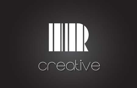 IR I R Creative Letter Logo Design With White and Black Lines.