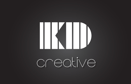 KD K D Creative Letter Logo Design With White and Black Lines.