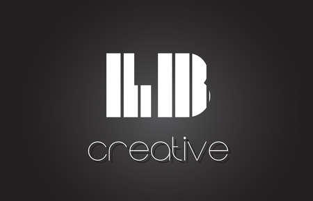 LB L B Creative Letter Logo Design With White and Black Lines.