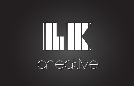 LK LK Kreatywne Projektowanie Logo Litera z białymi i czarnymi liniami.
