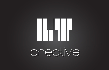 LT L T Creative Letter Logo Design With White and Black Lines. Illustration