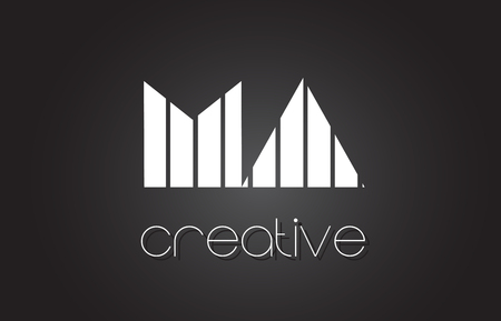 MA M A Creative Letter Logo Design With White and Black Lines. Ilustração