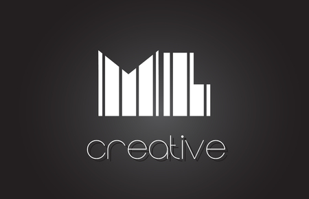 ml: ML M L Creative Letter Logo Design With White and Black Lines.
