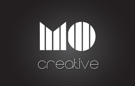 MO M O Creative Letter Logo Design With White and Black Lines. Logo