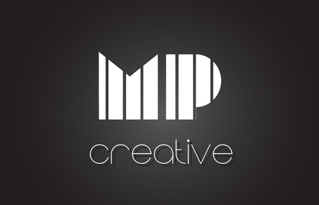 mp: MP M P Creative Letter Logo Design With White and Black Lines.