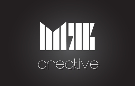 MZ M Z Creative Letter Logo Design With White and Black Lines.